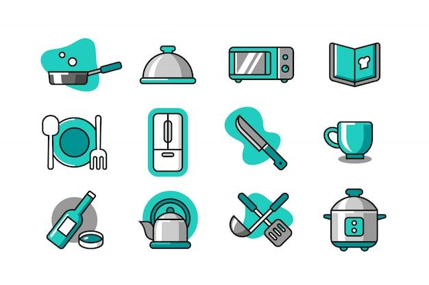 Set di icone da cucina Vettore Premium
