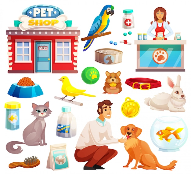 Set di icone decorative di negozio di animali Vettore gratuito