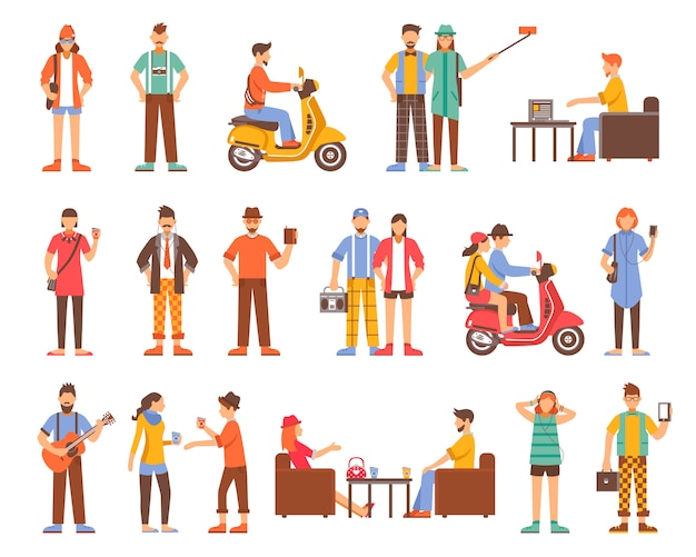 Set di icone decorative di persone hipster Vettore gratuito