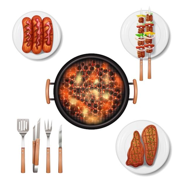 Set di icone decorative griglia barbecue Vettore gratuito
