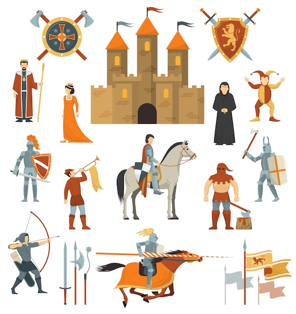 Set di icone decorative medievali Vettore gratuito