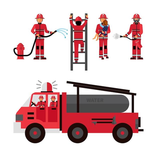 Set di icone decorative pompiere Vettore gratuito
