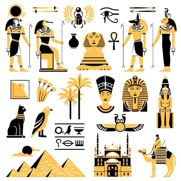 Set di icone decorative simboli di egitto Vettore gratuito