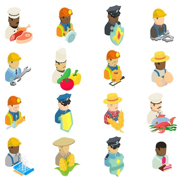 Set di icone dei dipendenti, stile isometrico Vettore Premium