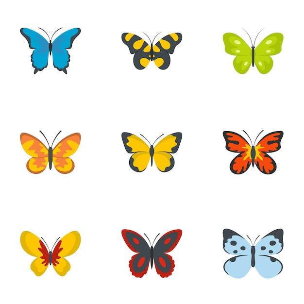 Set di icone del baco da seta, stile piano Vettore Premium