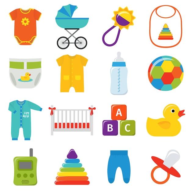 Set di icone del bambino. illustrazione. Vettore Premium