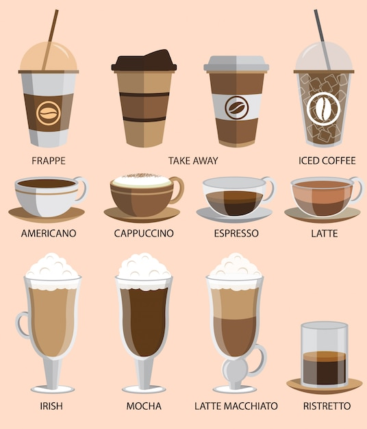 Set di icone del caffè Vettore Premium