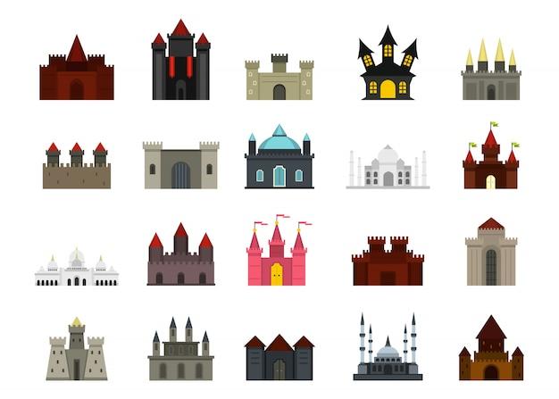 Set di icone del castello. insieme piano della raccolta delle icone di vettore del castello isolato Vettore Premium