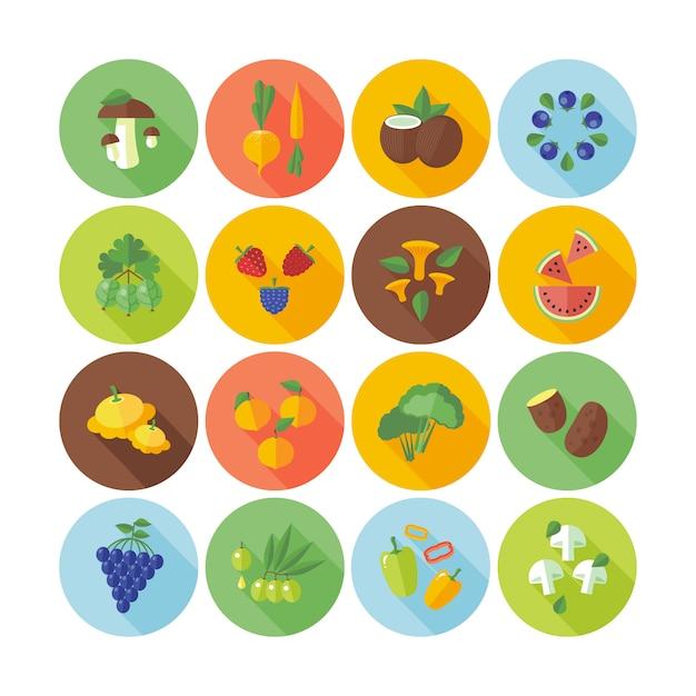 Set di icone del cerchio per frutta, verdura e funghi. Vettore Premium