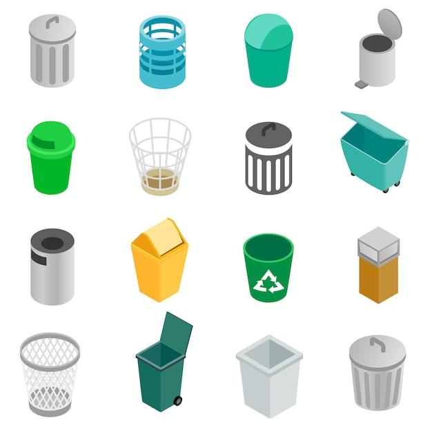 Set di icone del cestino Vettore Premium