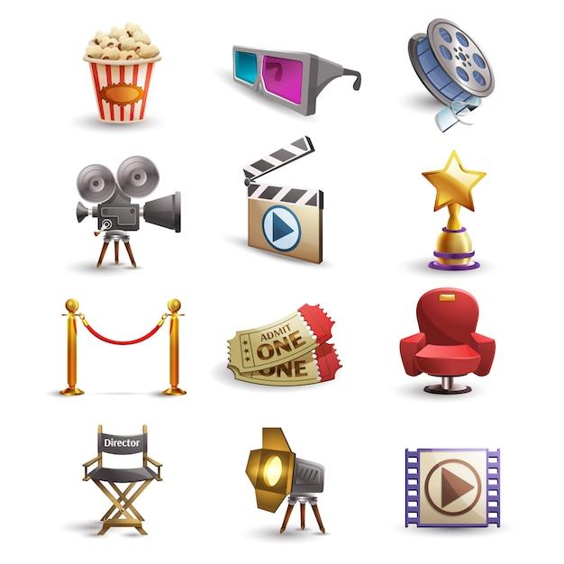 Set di icone del cinema Vettore gratuito