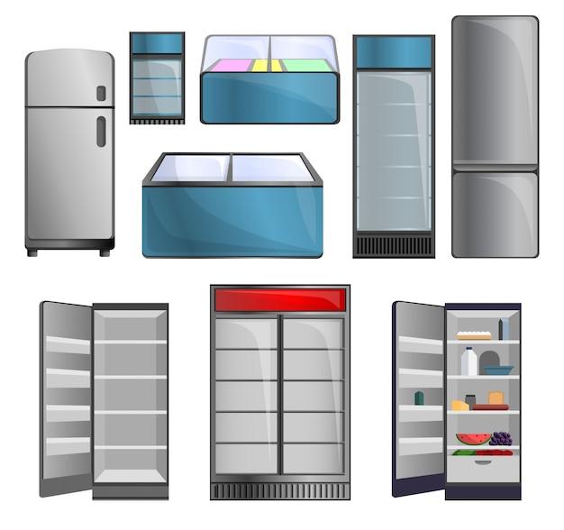 Set di icone del congelatore. insieme del fumetto delle icone di vettore del congelatore per il web design Vettore Premium
