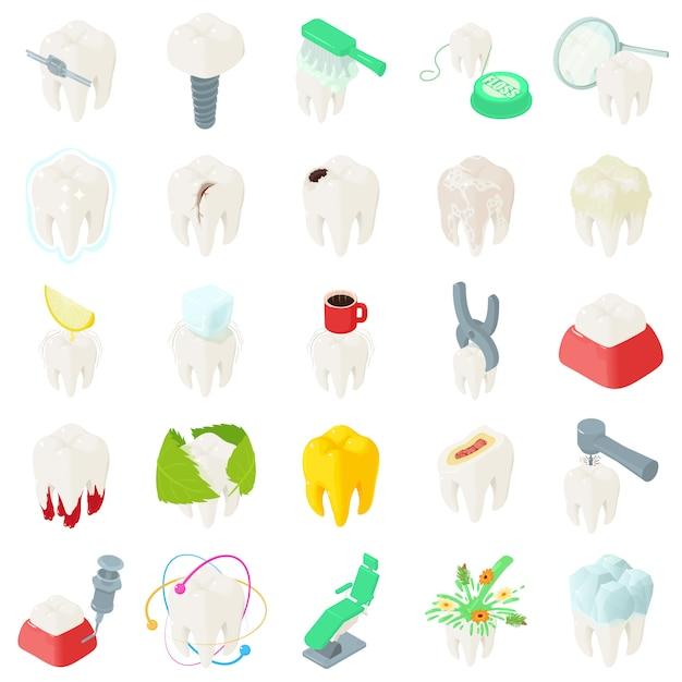 Set di icone del dentista denti dente. illustrazione isometrica di 25 denti denti dentista icone vettoriali per il web Vettore Premium