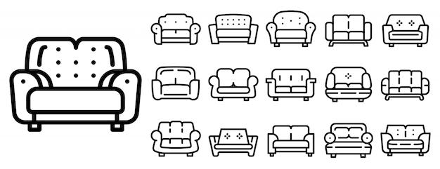 Set di icone del divano, struttura di stile Vettore Premium