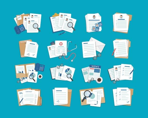 Set di icone del documento, carta, icone delle cartelle Vettore Premium