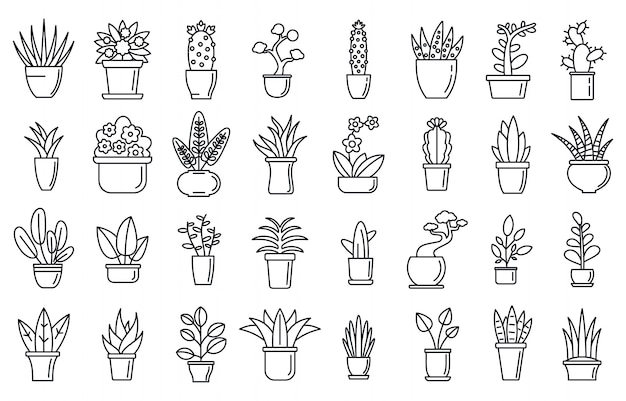 Set di icone del fiore piante d'appartamento, struttura di stile Vettore Premium