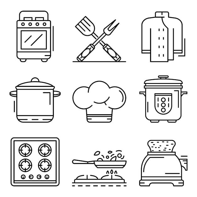 Set di icone del fornello. delineare un set di icone vettoriali fornello Vettore Premium