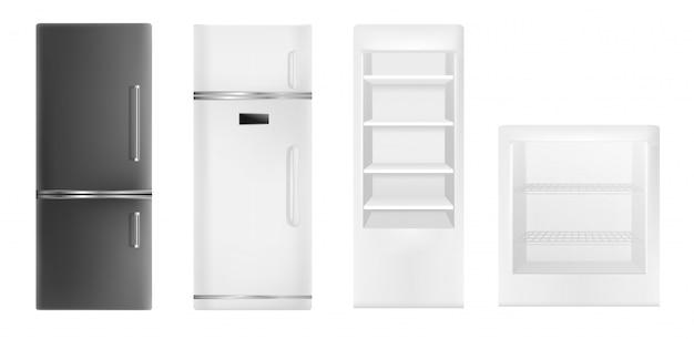 Set di icone del frigorifero. insieme realistico delle icone di vettore del frigorifero per il web design isolato su fondo bianco Vettore Premium