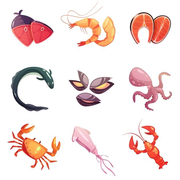 Set di icone del fumetto di frutti di mare Vettore gratuito