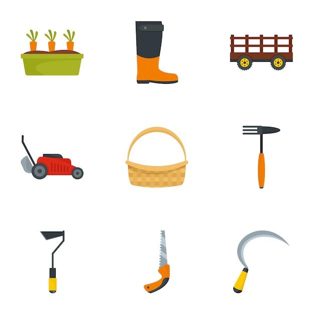 Set di icone del giardino. set piatto di 9 icone del giardino Vettore Premium