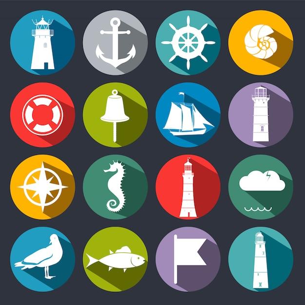 Set di icone del mare. Vettore Premium