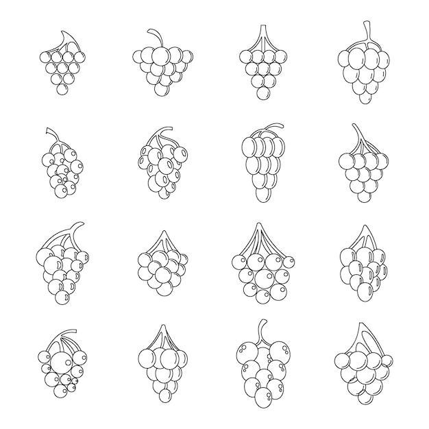Set di icone del mazzo di uva Vettore Premium