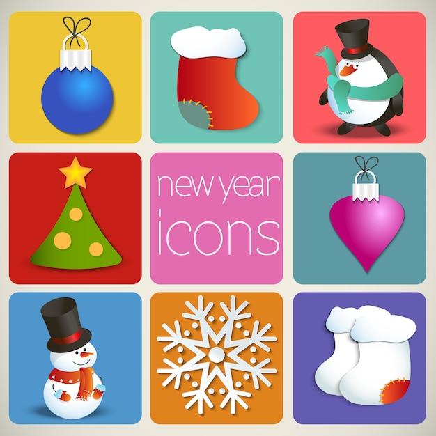 Set di icone del nuovo anno Vettore Premium