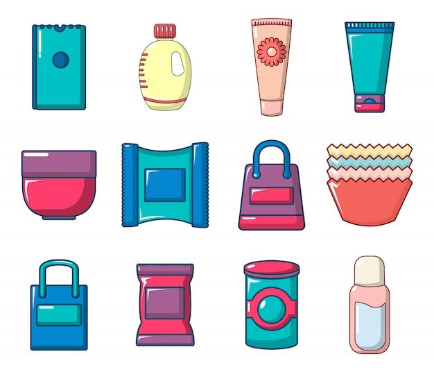 Set di icone del pacchetto. l'insieme del fumetto delle icone di vettore del pacchetto ha messo isolato Vettore Premium