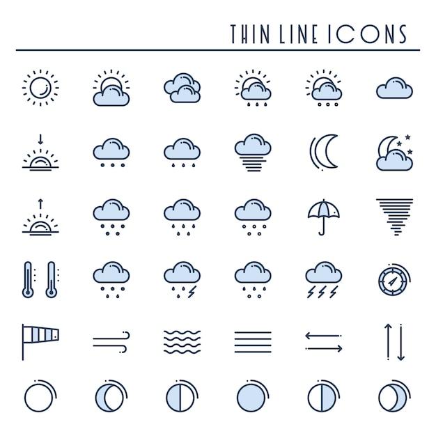 Set di icone del pacchetto meteo. meteorologia. simboli delle previsioni del tempo. Vettore Premium