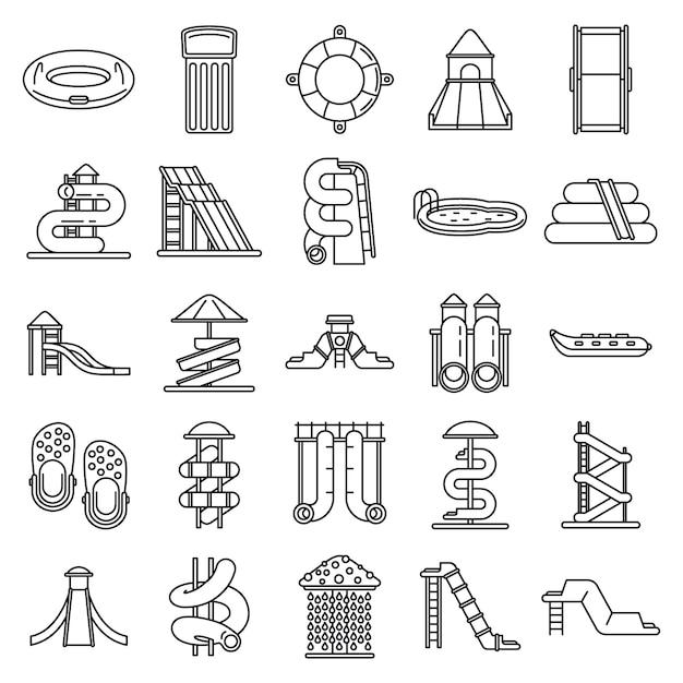 Set di icone del parco acquatico, struttura di stile Vettore Premium