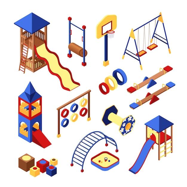 Set di icone del parco giochi Vettore gratuito