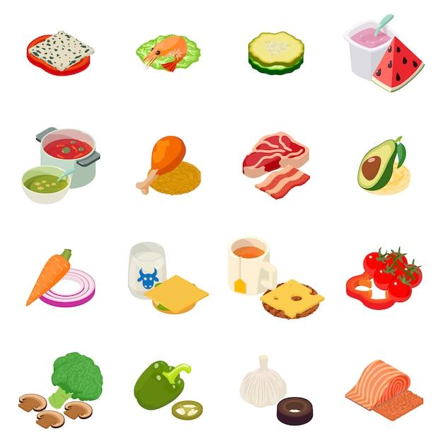 Set di icone del pranzo Vettore Premium