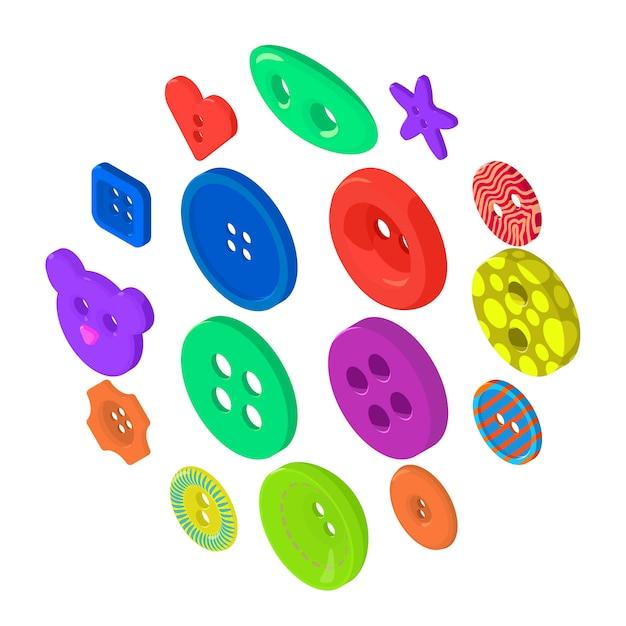 Set di icone del pulsante vestiti, stile isometrico Vettore Premium
