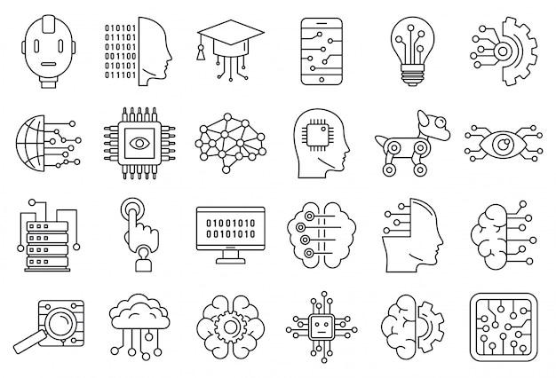 Set di icone del sistema di intelligenza artificiale, struttura di stile Vettore Premium