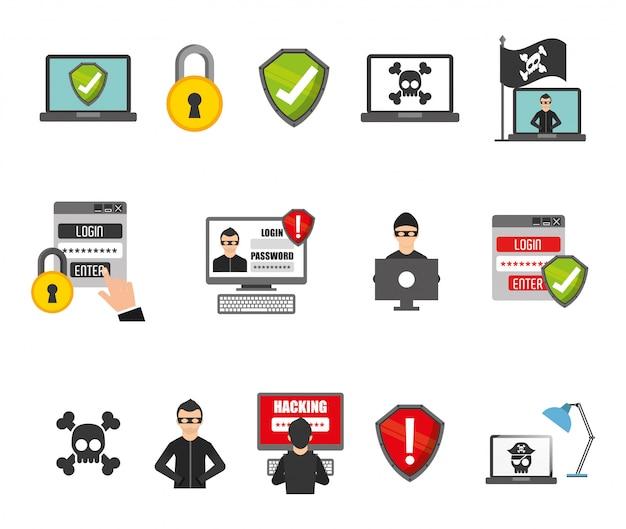 Set di icone del sistema di sicurezza Vettore gratuito
