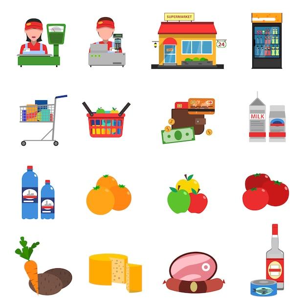 Set di icone del supermercato Vettore gratuito