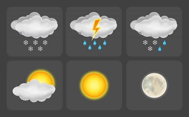 Set di icone del tempo. illustrazione Vettore Premium