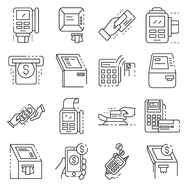 Set di icone del terminale bancario. insieme del profilo delle icone di vettore del terminale di banca Vettore Premium
