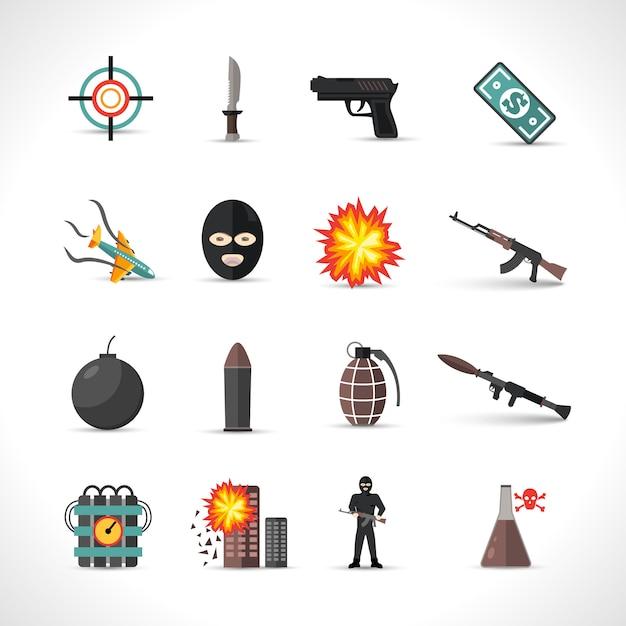 Set di icone del terrorismo Vettore gratuito