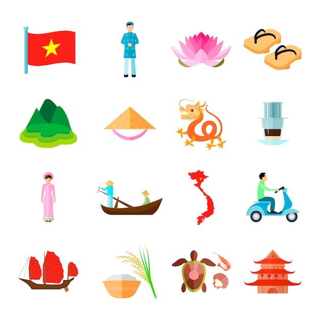 Set di icone del vietnam. illustrazione di vettore di viaggio del vietnam. simboli piatti del vietnam tourism. set di design vietnamita. insieme isolato del vietnam. Vettore gratuito