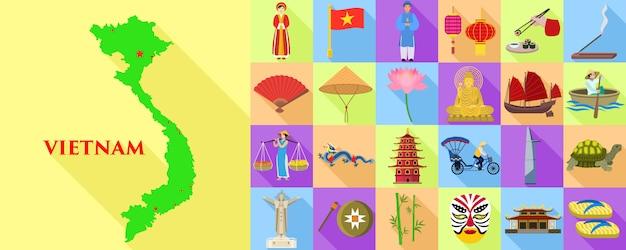 Set di icone del vietnam. insieme piano della mappa e degli elementi del vietnam Vettore Premium