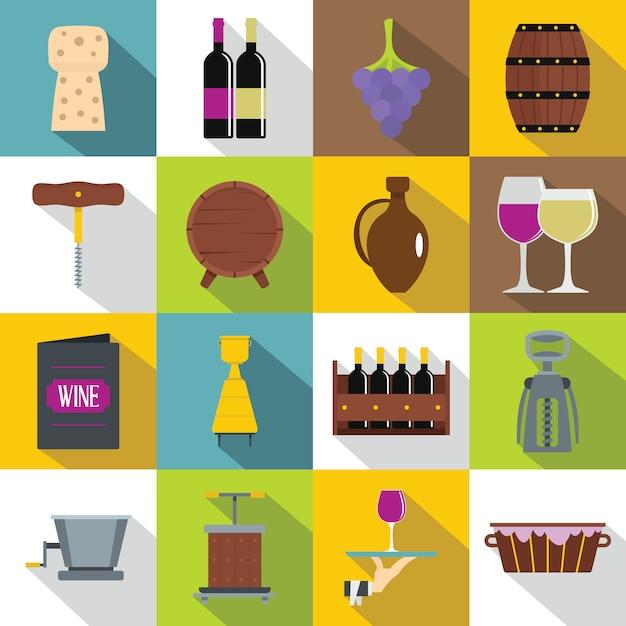 Set di icone del vino, stile piatto Vettore Premium