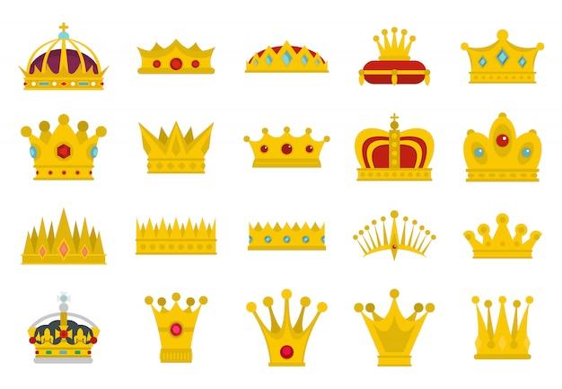 Set di icone della corona. insieme piano della raccolta di icone di vettore di corona isolato Vettore Premium