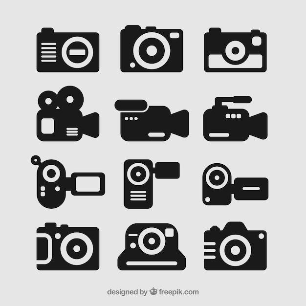 Set di icone della fotocamera Vettore gratuito