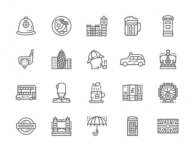 Set di icone della linea di cultura inglese. Vettore Premium