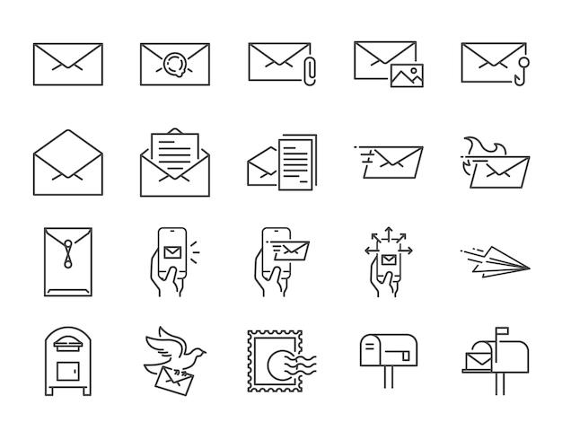 Set di icone della linea di posta. Vettore Premium