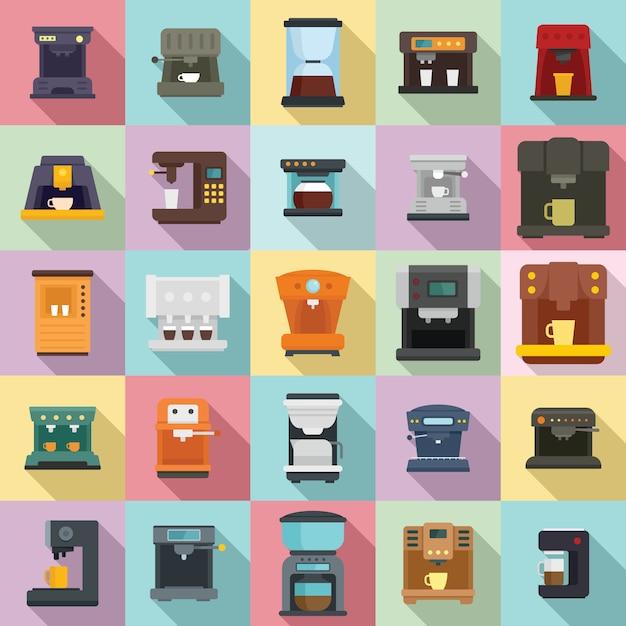 Set di icone della macchina da caffè, stile piano Vettore Premium