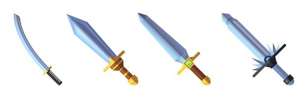 Set di icone della spada del gioco del fumetto Vettore Premium