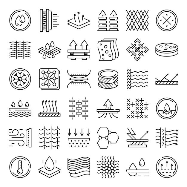 Set di icone delle caratteristiche del tessuto, struttura di stile Vettore Premium