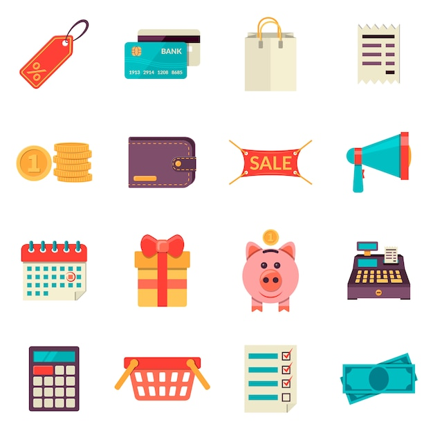 Set di icone dello shopping piatte. icone di vendita vettoriale Vettore Premium